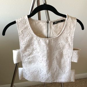 Ivory crop top with side cutouts